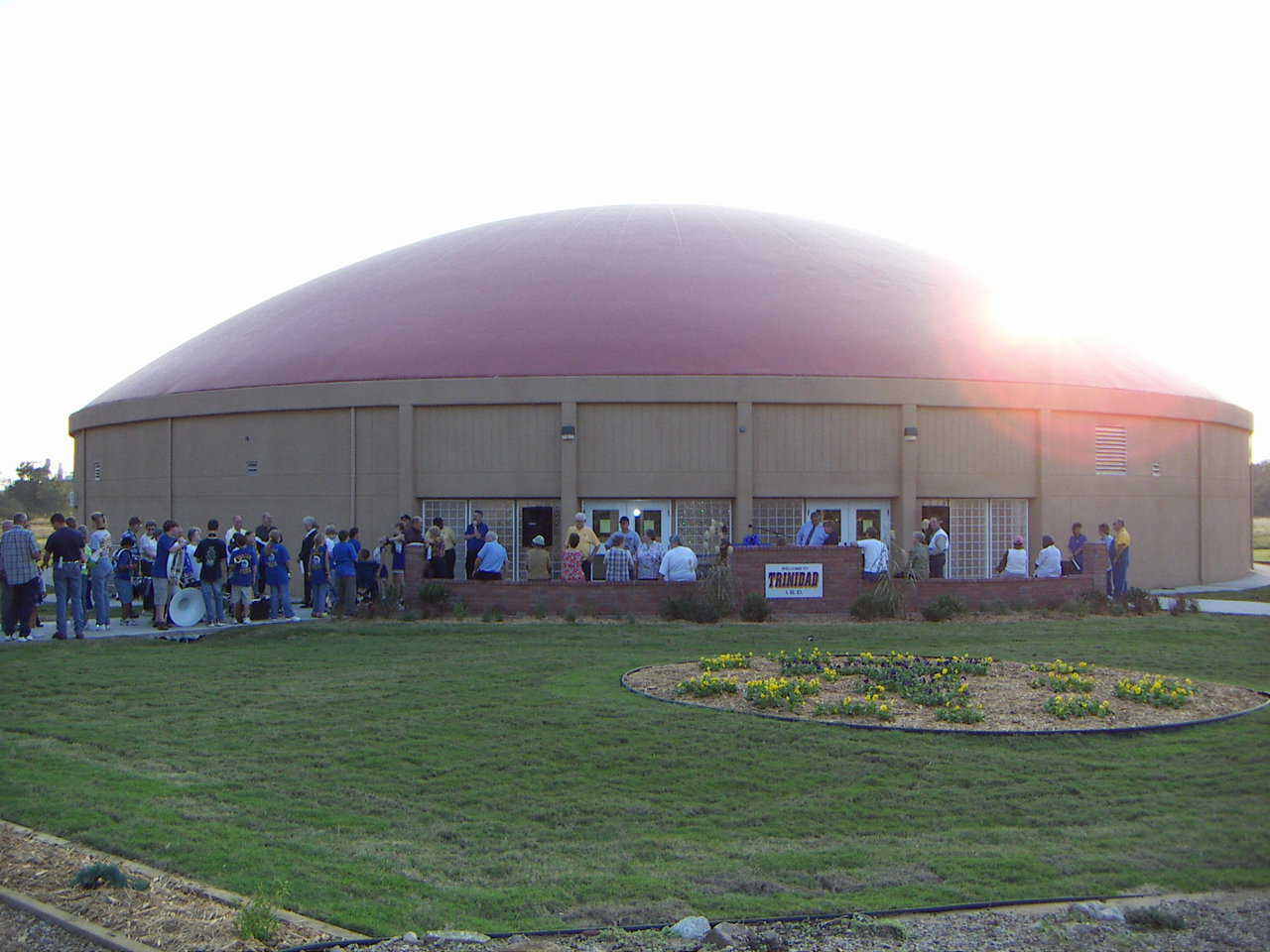 This super energy efficient Monolithic Dome Gymnasium is now a tornado shelter as well.  The power savings will equal the cost of the building in less than 20 years.  The lifetime is expected to be centuries.