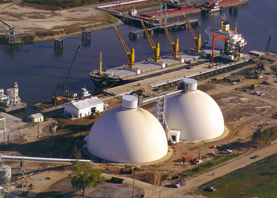 North Texas Cement — North Texas Cement's storage domes in Houston, Texas holds 38,500 tons of cement in each of the 150-foot diameter by 83-foot tall domes.