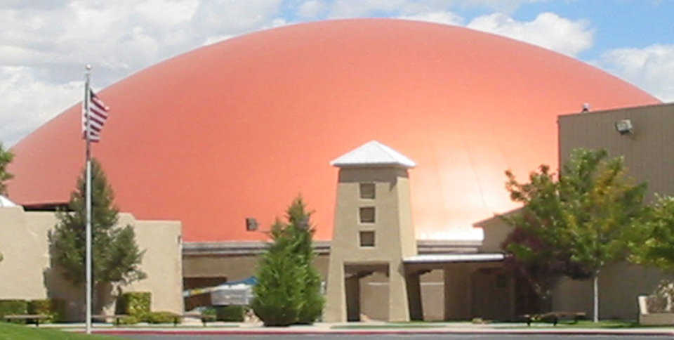 Monolithic Dome Churches: Legacy Church in Albuquerque, New Mexico is a sanctuary with a diameter of 192 feet and a height of 50 feet.