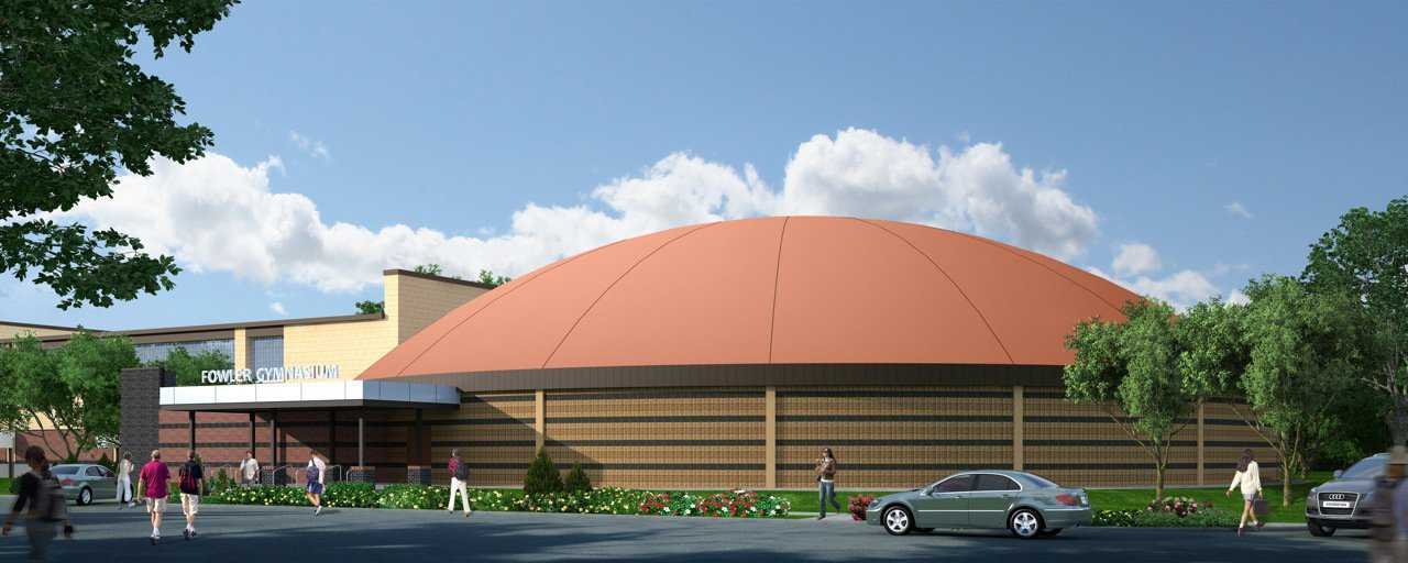 "Rendering of Fowler's Gymnasium — Michael McCoy of Midwest City, OK began designing Monolithic Dome facilities in 2008. Asked if Monolithic Dome designing is either harder or easier than more commonly expected and accepted architecture in America, Michael said, ""It's neither harder nor easier. It's a different building system that includes elements that a typical construction simply doesn't have."