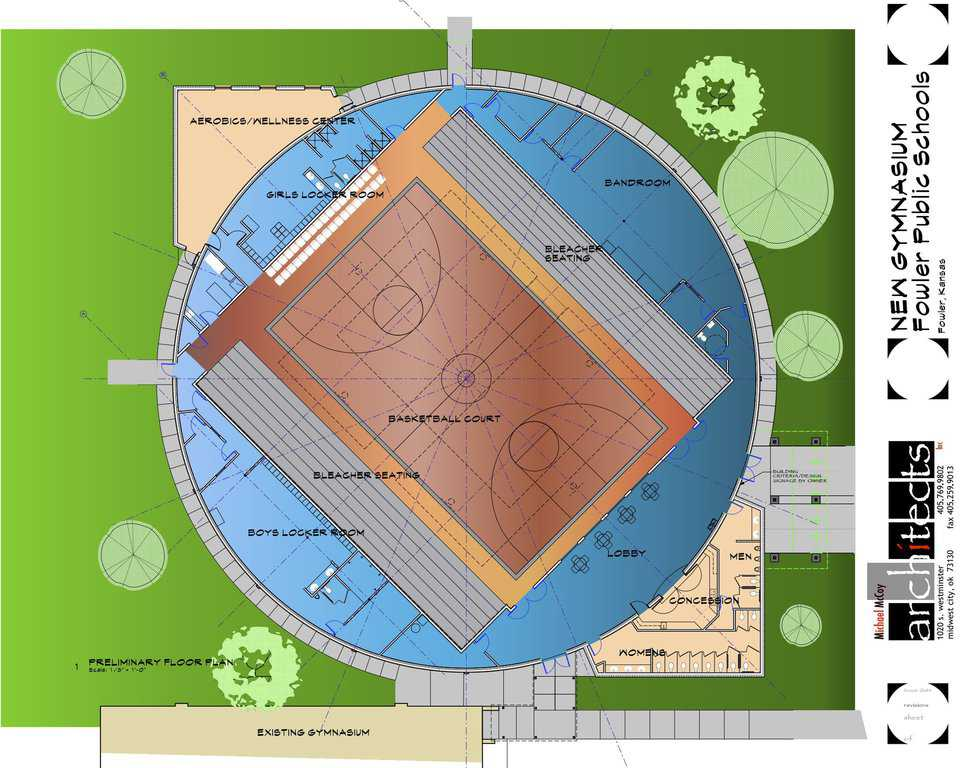 Floor Plan — In addition to school sport activities, the community will use this Monolithic Dome gym for town-hall meetings and as a Community Wellness Center with a variety of exercise equipment.
