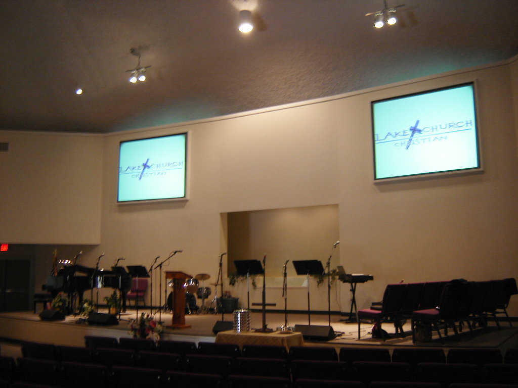 Sanctuary — It includes a stage for instruments and choir.