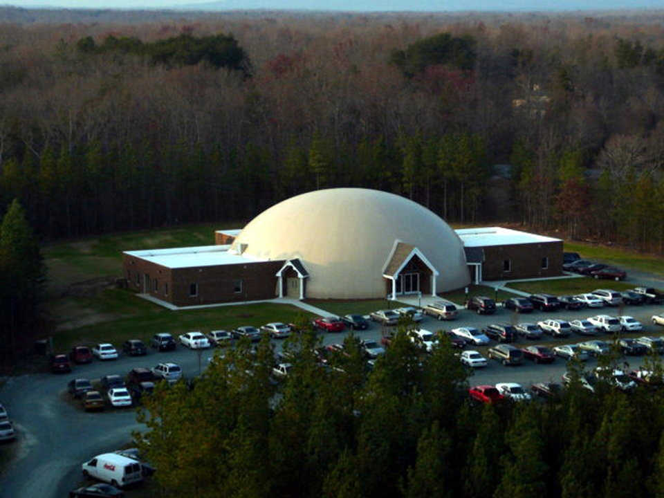 Dual use — Sanctuary's 104-foot diameter encompasses an area used mainly for religious services that can be easily converted into a multipurpose room, since its seating is movable.