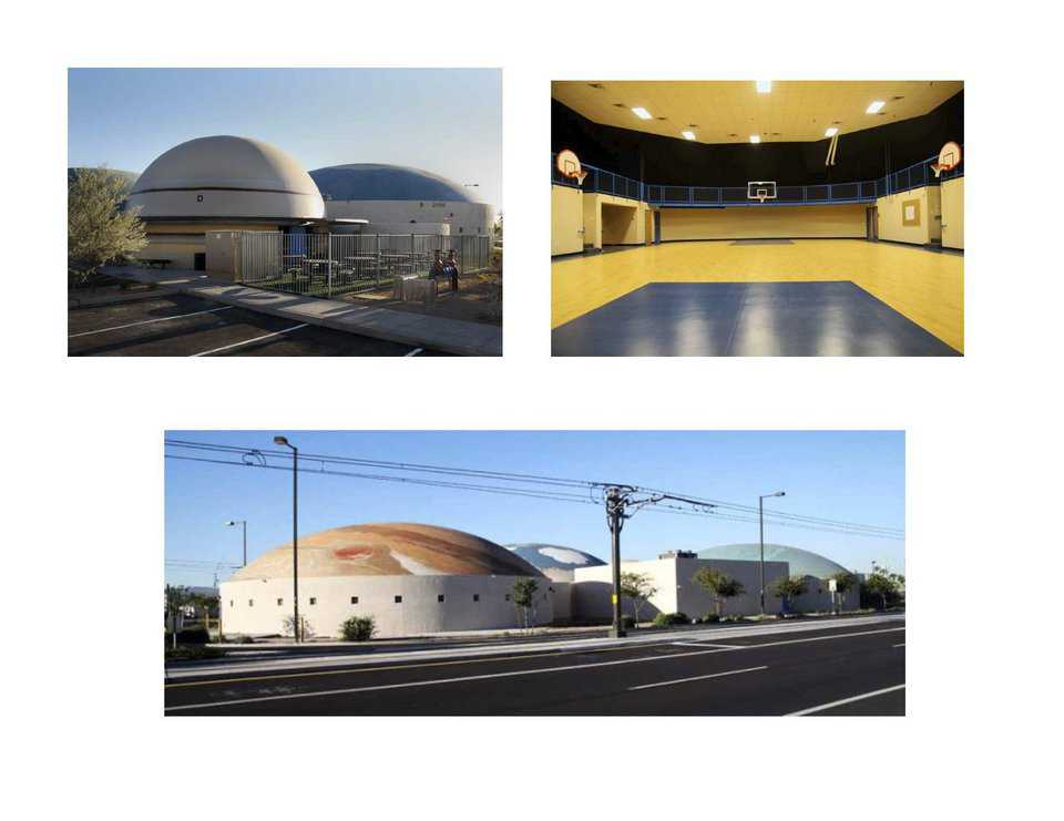 Robert L. Duffy High in Phoenix — This charter school now has a campus of 4 Monolithic Domes, with exteriors adorned to resemble planets: Saturn, Earth, Neptune and Jupiter.