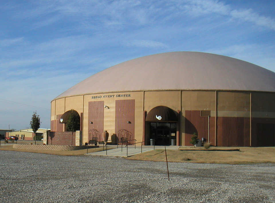 Beggs Event Center — This Monolithic Dome has a diameter of 160 feet and is built on a 24-foot Orion stem wall. Beggs Event Center can accommodate more than 2000 spectators and a variety of sport and school activities.