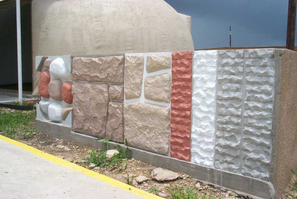 Various options — These finishes were achieved by using foam molds shaped as rocks or bricks.