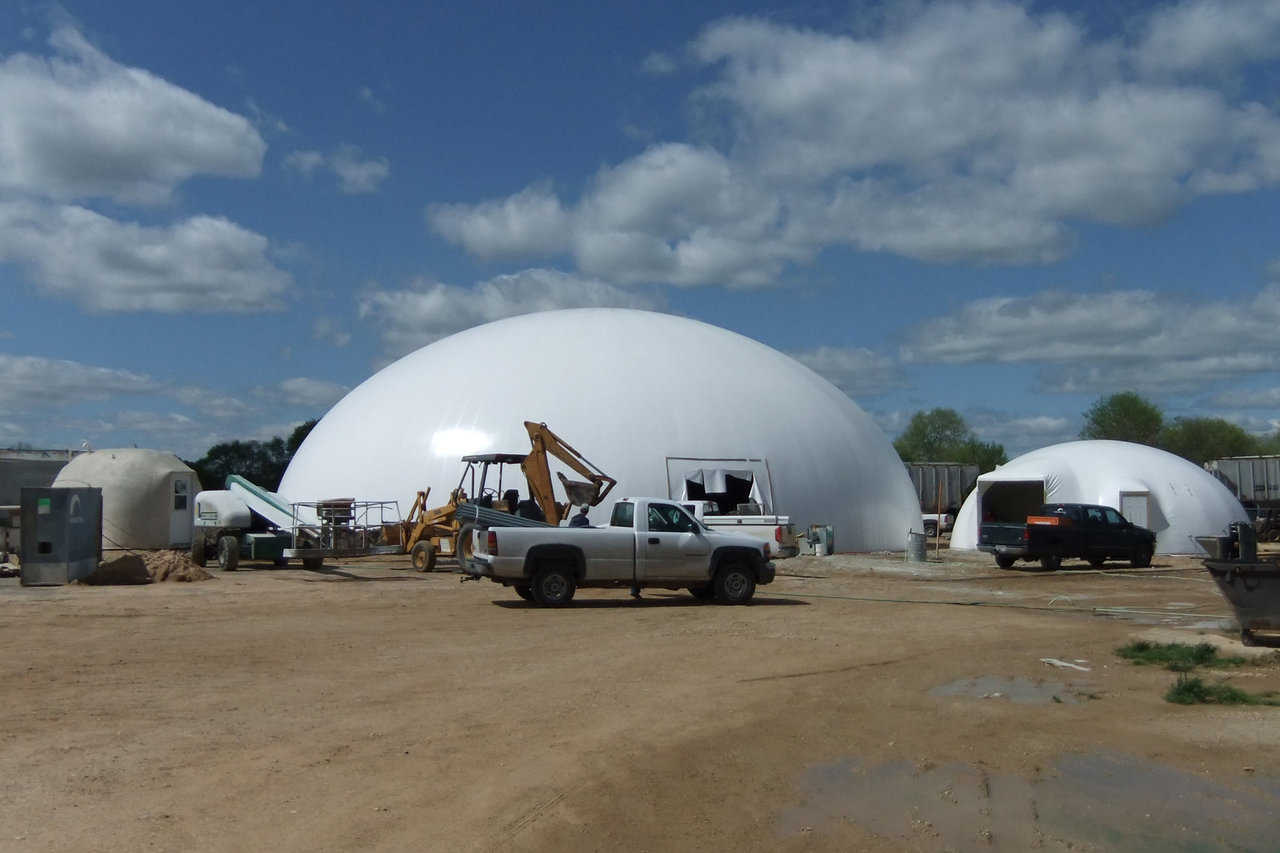 Two domes; two purposes  — Smaller dome was designed as a warehouse for various bulk chemicals. Larger dome was designed as a blending plant and includes eight storage bins and state-of-the-art equipment for mixing various fertilizers.