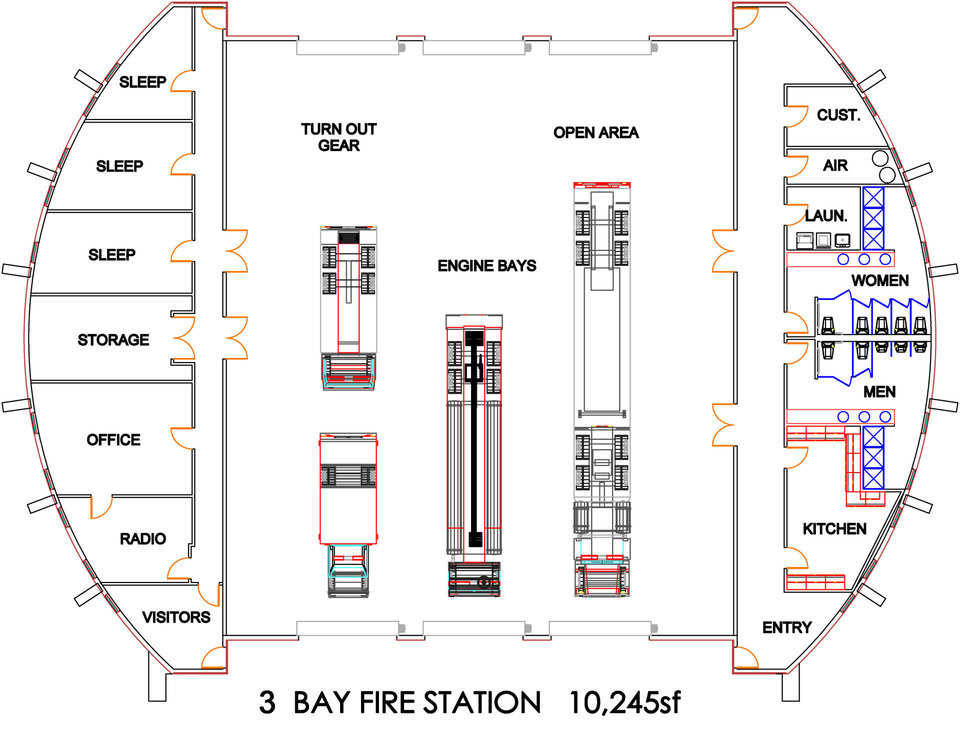 Three Bay Fire Station  — Its 10,245 square feet include sleeping, kitchen and bathroom facilities for both women and men, as well as offices and a visitors' area.