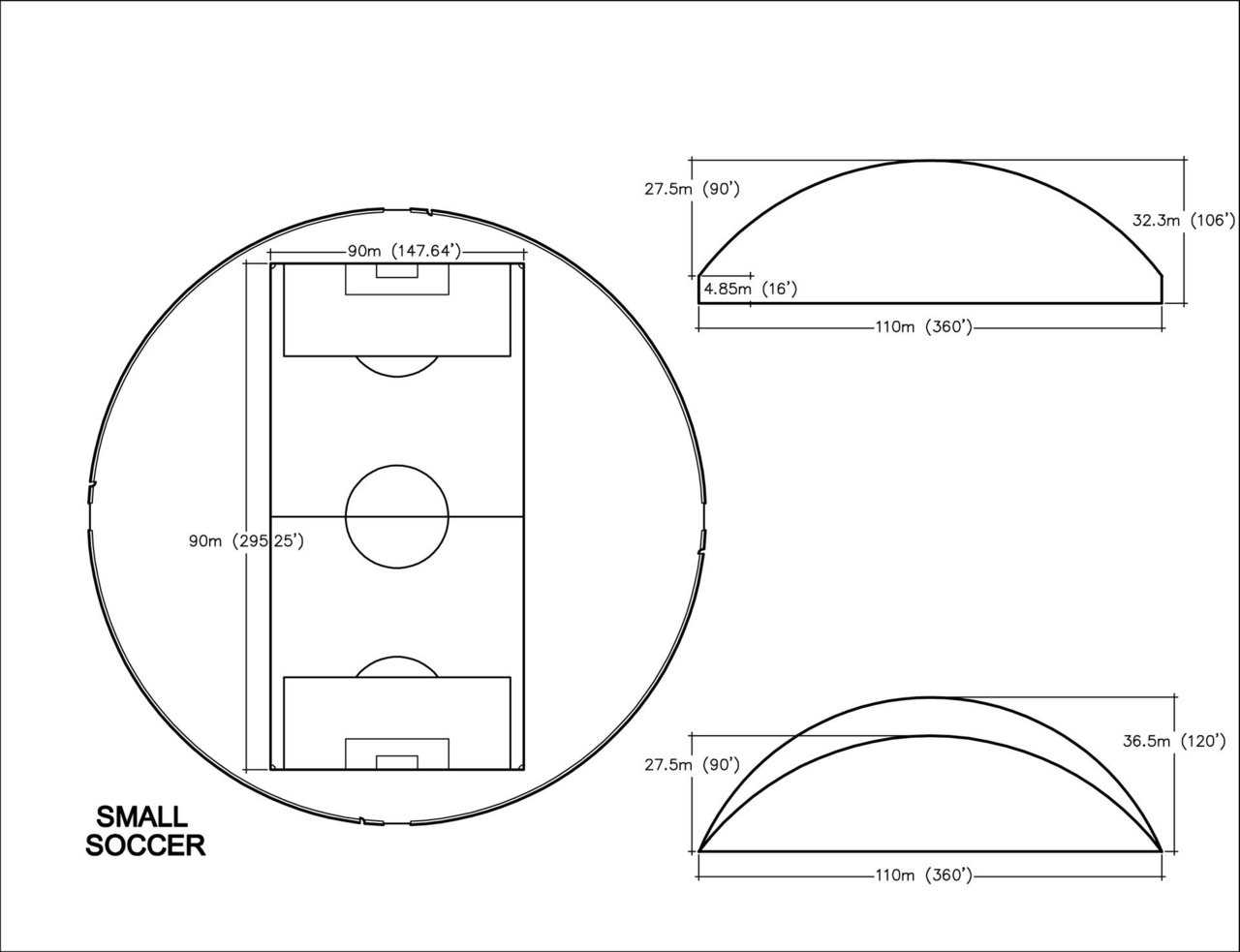 Small Soccer Practice Dome — 110m (360' diameter)