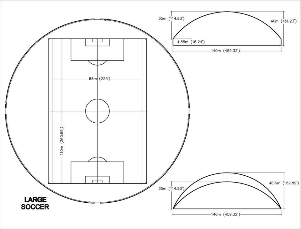 Large Soccer Practice Dome — 140m (460' diameter)