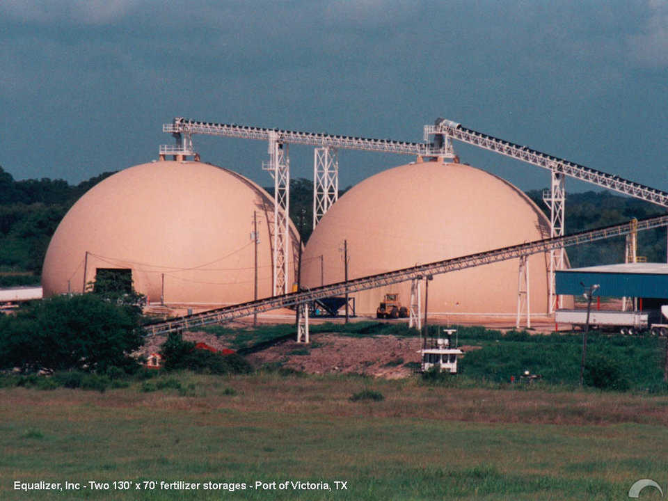 Fertilizer Storages — Built for Equalizer, Inc. in Port of Victoria, Texas, these two Monolithic Domes measure 130′ × 70′. In 2004 a major hurricane nearly destroyed the plant, did some damage to the conveyors but did not hurt the domes.