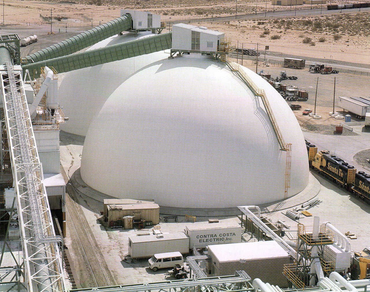 Borax Storages — In Boron, California US Borax mines more than 80 different minerals. The company had two Monolithic Domes, 150′ × 79′, constructed for borax storage.