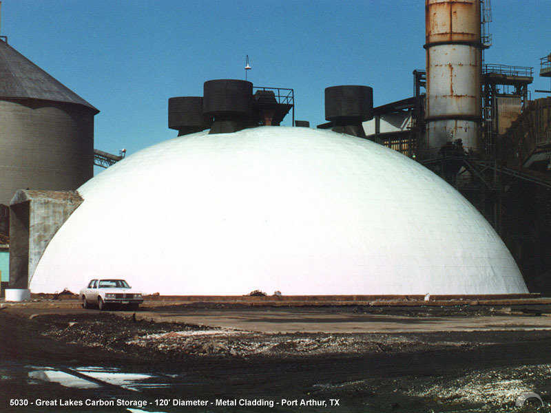 Carbon Storage — Great Lakes Carbon Storage has a Monolithic Dome with a 120' diameter and a metal cladding cover in Port Arthur, Texas. Located less than 300' from the Gulf of Mexico, this dome has survived many hurricanes.