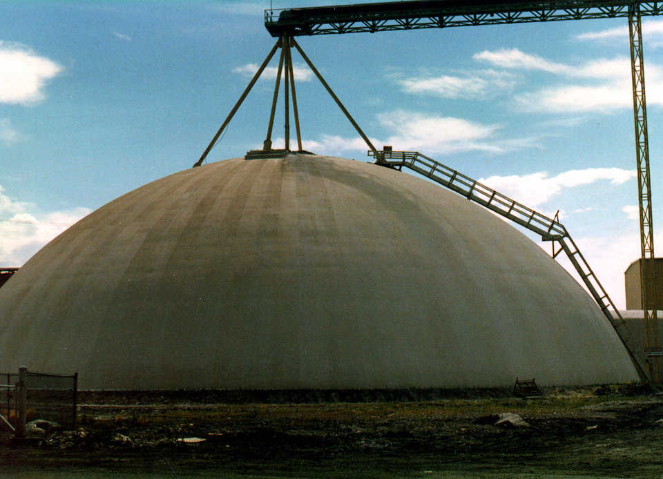 Potash Storage — In Ogden, Utah, Great Salt Lake Mineral operates a 25,000 ton potash storage with a diameter of 160'. A second dome of similar size has now been built for additional storage.