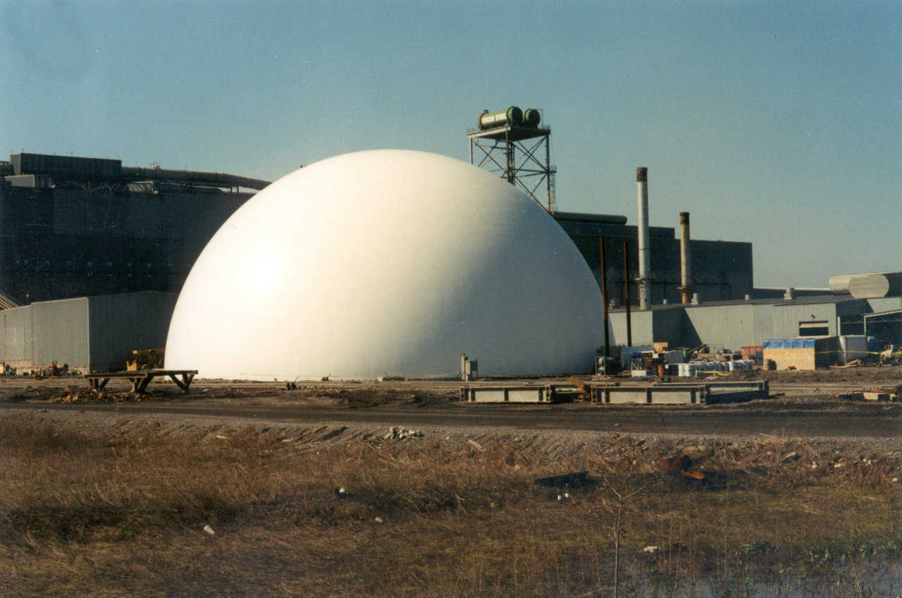 Iron Carbide Storage — Nucor Steel in Blytheville, Arkansas has a 145' diameter dome for storing 45,000 tons of iron carbide.