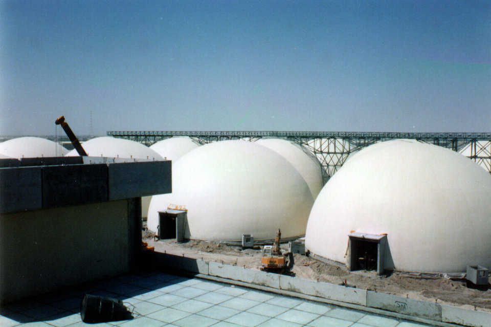 Grain Storages in Iraq (Summer 1989) — Thirty Monolithic Domes capable of holding 10,000 metric tons of grain were constructed in the Middle East.