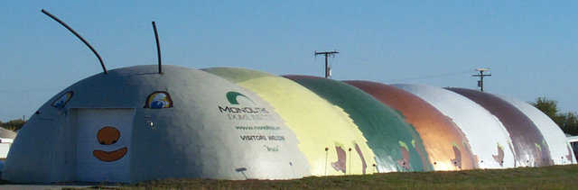 Bruco — Metal cladding comes in a variety of colors and makes a durable, protective coating for a Monolithic Dome.
