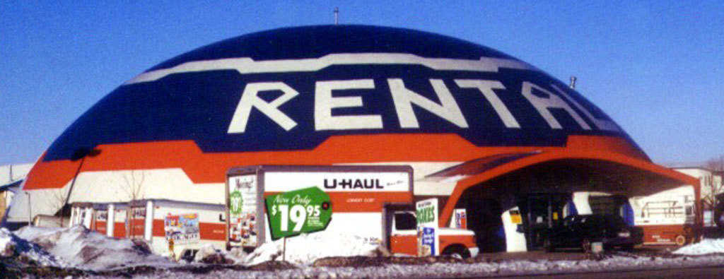 A colorful dome! — The dome for this rental facility near Rexburg, ID was covered with metal and colorfully painted.