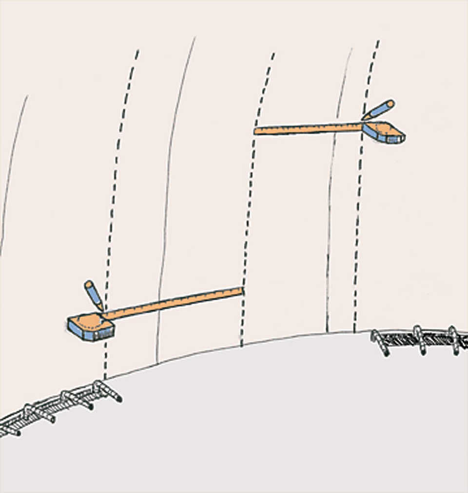 Figure 3 — Measure from center point to edge of opening, then mark the measurement about every foot vertically until you reach your determined height.