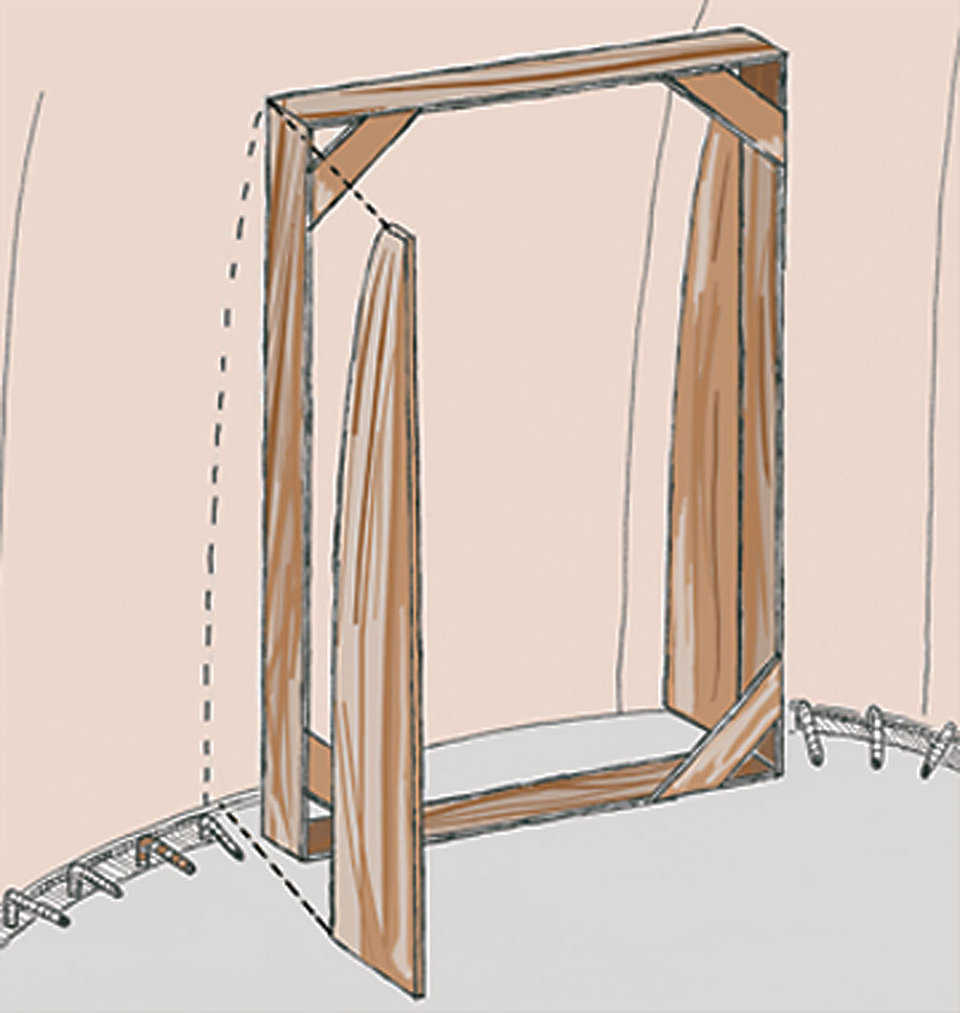 Figure 10 — After the frame is in place, cut a piece of plywood to fit the curve of the dome.