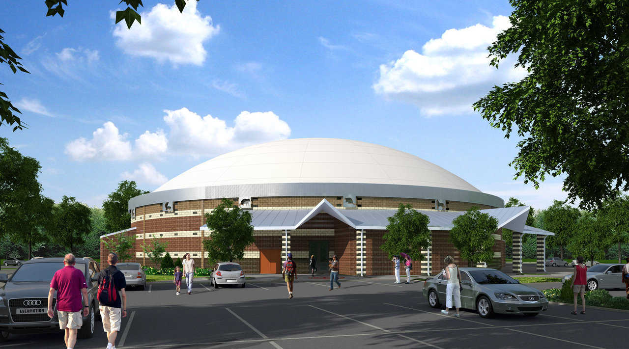 Rendering of proposed multipurpose facility — Michael McCoy, the Oklahoma-based architect on the project, said the Monolithic Dome's energy efficiency and strength both were key factors in the Muscogee (Creek) Nation's decision to go with dome construction.