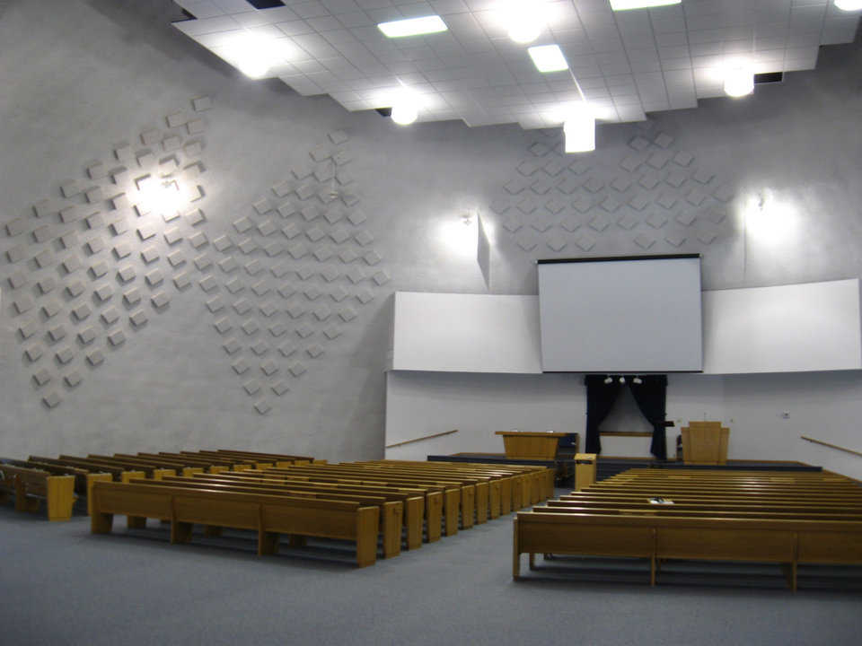 Sanctuary — The sanctuary was furnished with seating for 450 and the potential to expand to 1,000.
