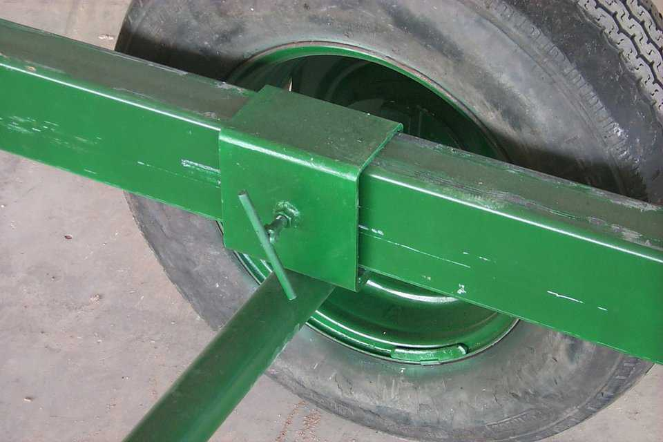 Center Pivot — The center pivot axle is attached directly to the floor with a rotating center post.  The beams can then be slid in or out to adjust for different diameter domes, then screwed in tight so they don't slip out.