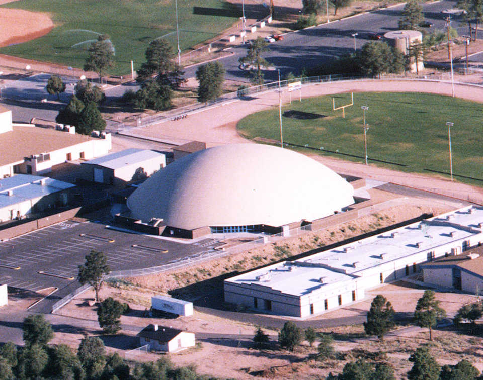 Aerial view — This Monolithic Dome sports center has a diameter of 200 feet.