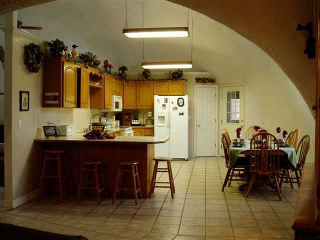 Kitchen — It occupies one half of one of the 34' domes. Note the arch where the two domes connect.