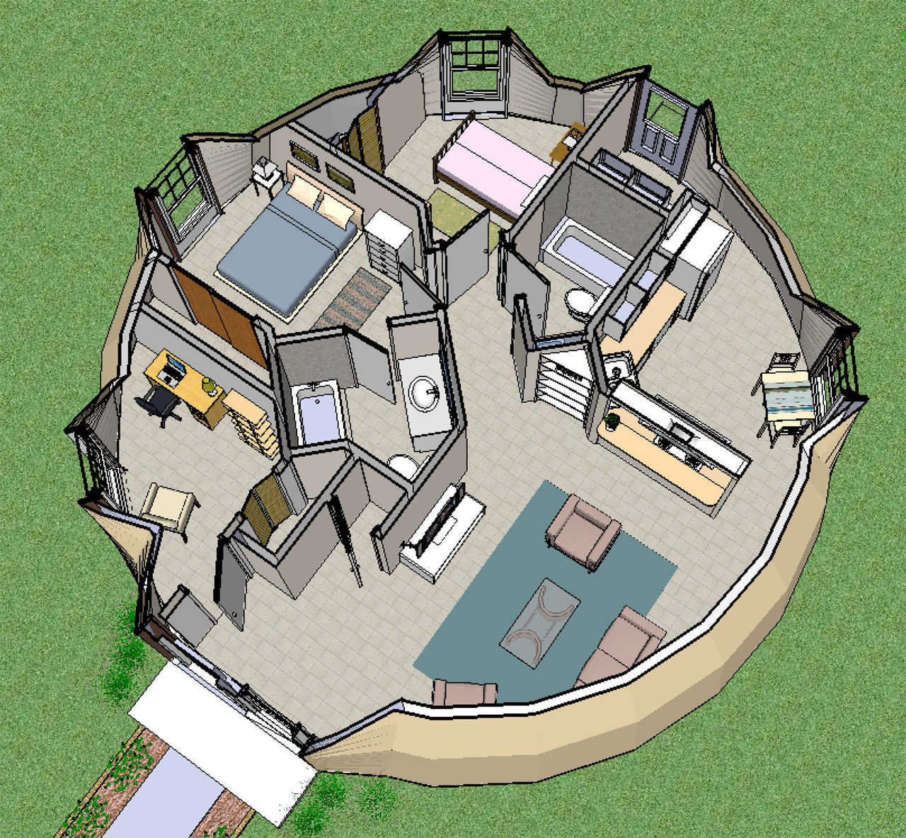 SketchUp: A New Planning Tool | Monolithic Dome Insute on christmas story house floor plan, gatsby house floor plan, barbie house floor plan, incredibles house floor plan, frodo baggins house floor plan,