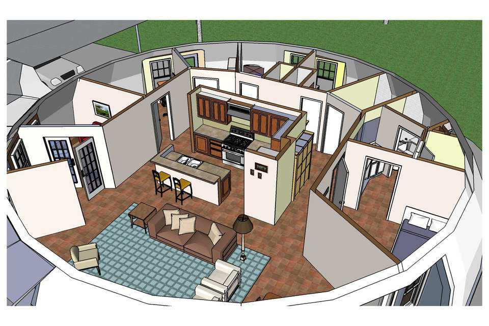 Interior plan — The Callisto has a diameter of 50 feet, a height of 16.5 feet and a living area of 1,964 square feet.