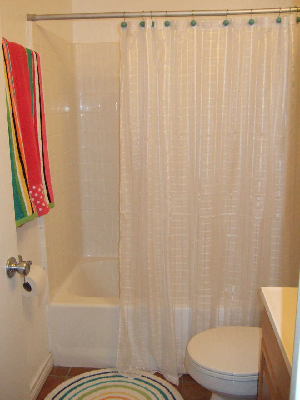 Bathroom — It has both shower and tub.