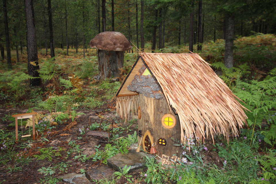 Elf House with Mushroom — Steve claims that one night this cute little Elf house just showed up. Note the size of the mushroom.