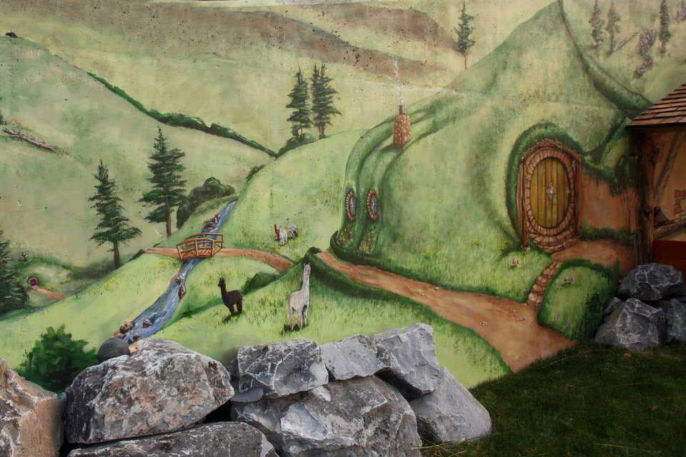 Mural of the Shire — Three separate murals depict scenes of the Shire.