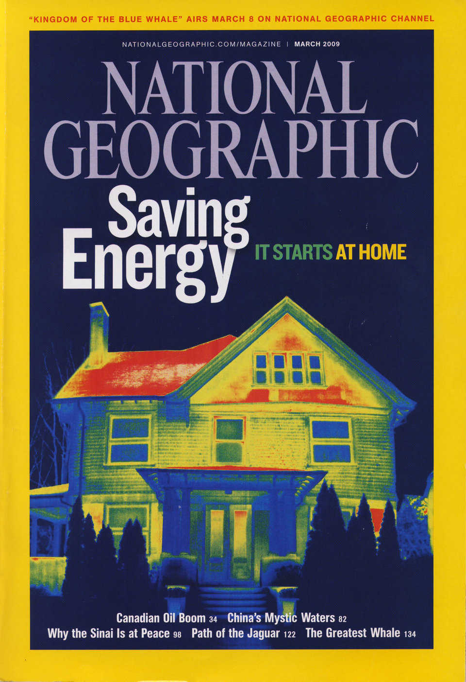 Figure 2.8 — March 2009 National Geographic features thermograph of conventionally insulated home.  Note heat loss, especially through the roof.