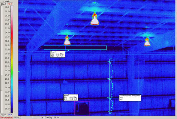 Figure 2.14 — Internal image of the shop next door to the Monolithic Dome shop.  Note the black areas.  This is the -25C (-13F) temperature showing on the inside of the building.  This insulated building shows virtually no insulation along the metal framing.