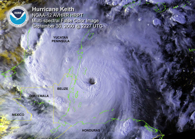 Hurricane Keith — Satellite imagery of the hurricane as it plowed inland over Belize.
