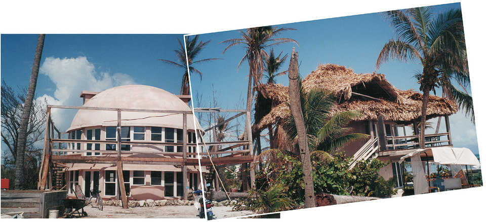 Monolithic Domes Undamaged!  — Aftermath photographs of Xanadu Island Resort in Belize just south of San Pedro on the Yucatan Peninsula. Hurricane Keith lingered over the island for three days. Its forceful winds uprooted trees, flattened homes and downed power lines. Aside from losing the roof thatching, the Monolithic Domes were undamaged.
