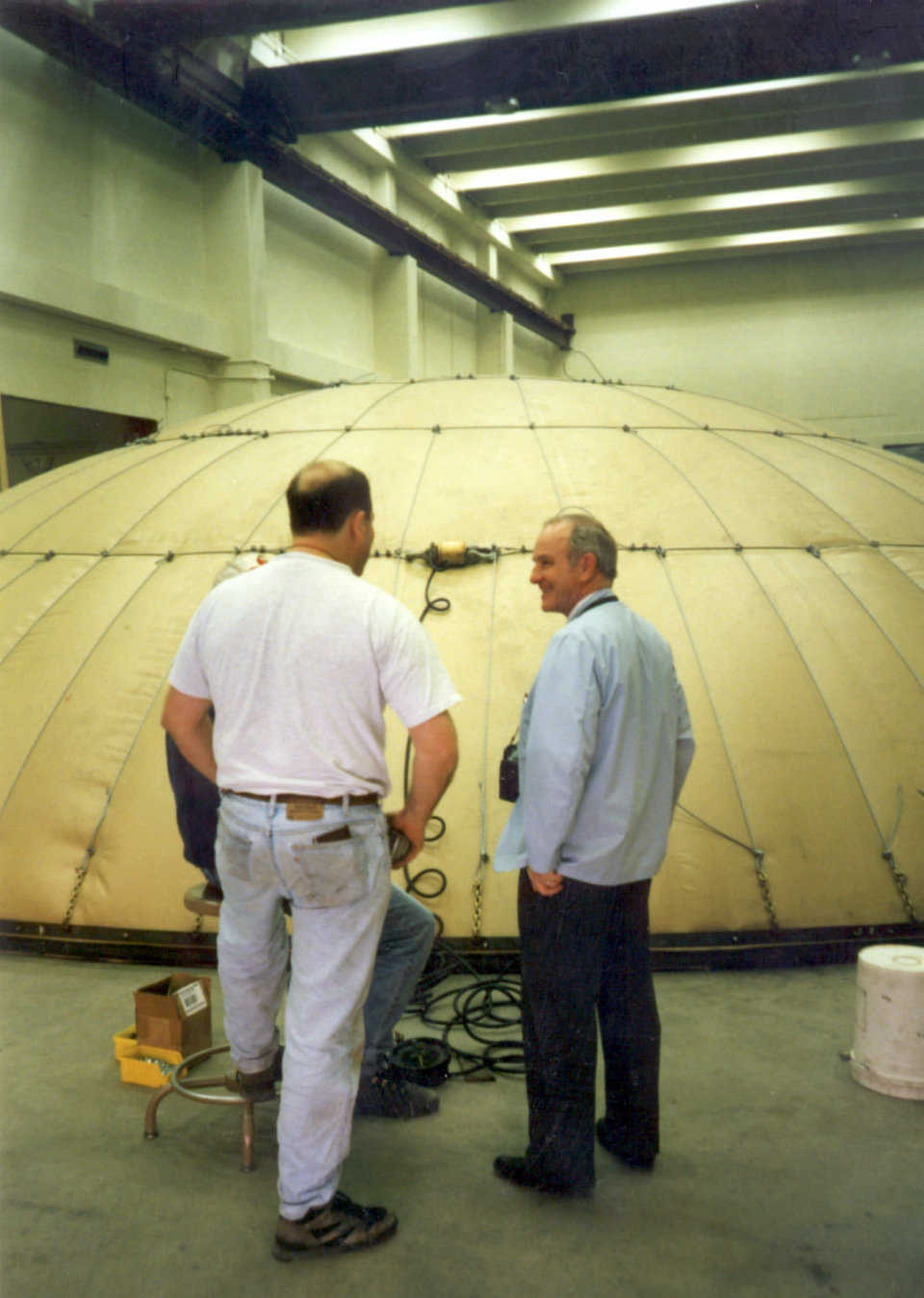 Crenosphere testing — Dr. Wilson at the BYU laboratories testing the cable system for the Crenosphere.