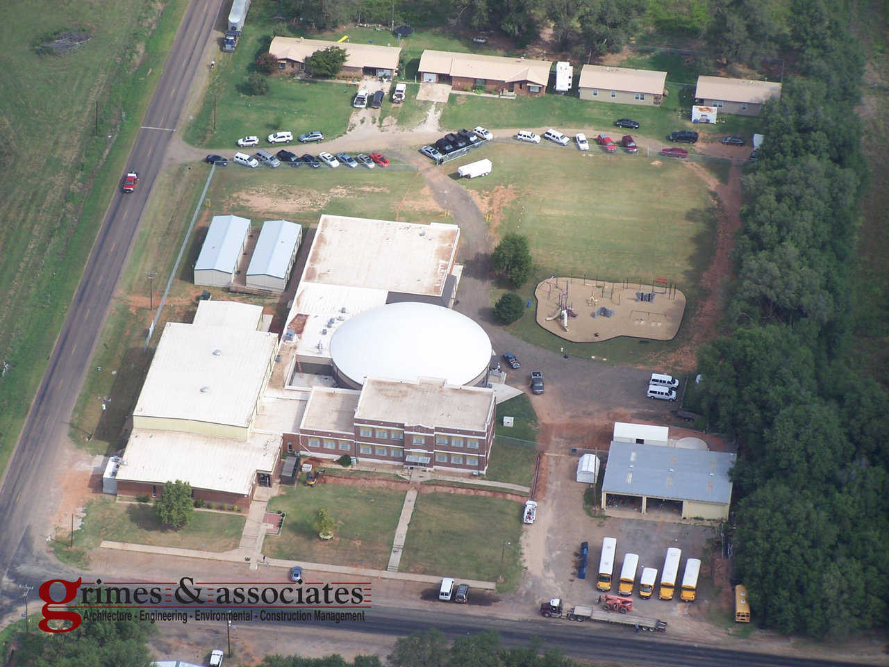 Aerial View — Kelton ISD tarted in 1904 with one teacher for all grades, Kelton now has 158 students and a beautiful, 100′ × 34′ Monolithic Dome for Grades 4 through 12.