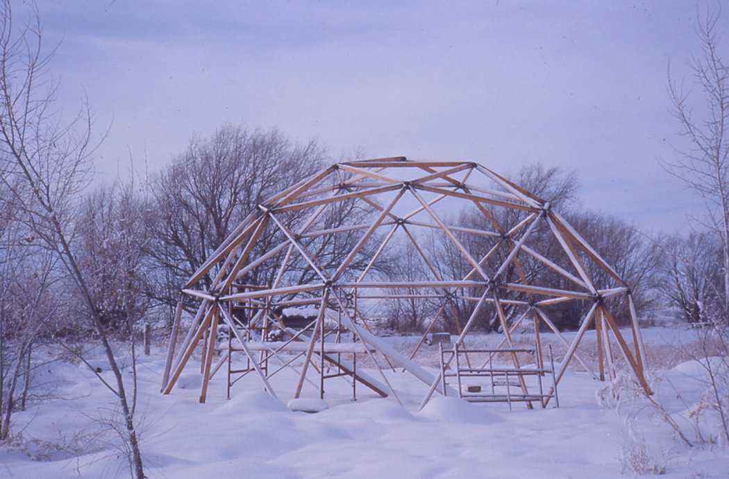 Framework for a geodesic dome — David B. South built this near his home in Shelley, Idaho about 1970.