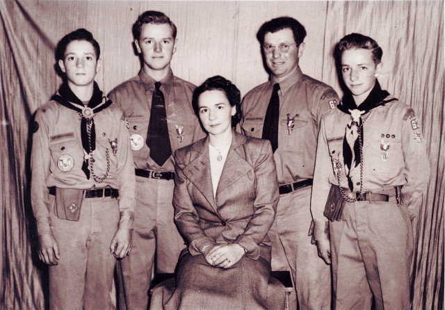 Arnold's family receives Eagle Scout rank. — Arnold, on the right, with mother and father and two brothers at Boy Scouts of America Eagle Court of Honor.