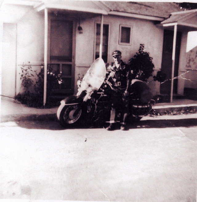 Honeymoon wheels — Newlyweds Arnold and Joyce rode a Harley Davidson motorcycle on their honeymoon.