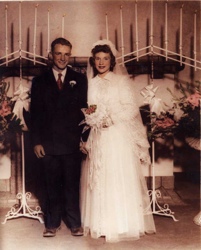 Wedding Portrait — Arnold and Joyce married on September 2, 1952 in the Manti Temple.