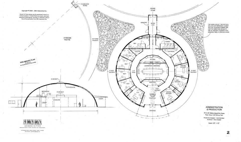 Administration and Production — 75′ × 24′ oblate Monolithic Dome, 4,417.86sf