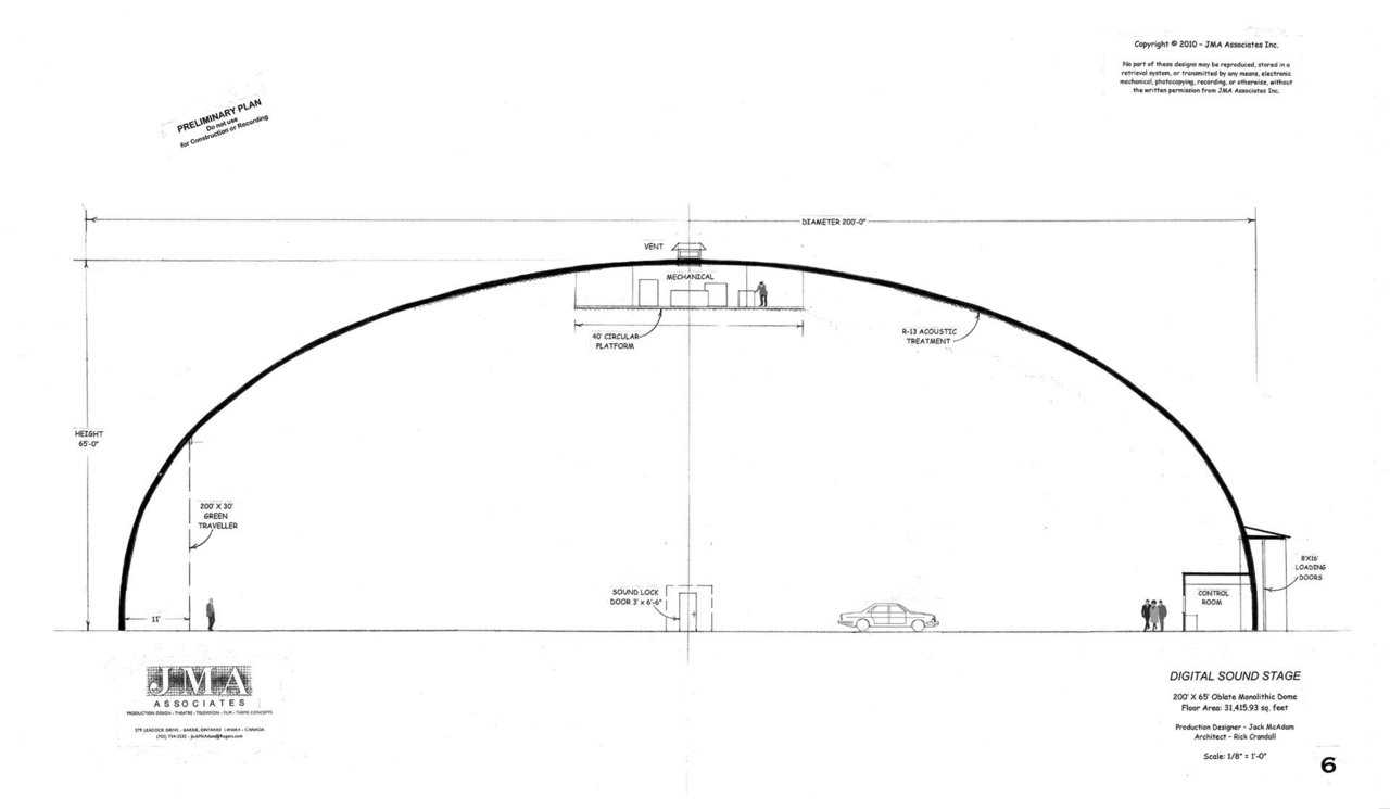 Digital Sound Stage — 200′ × 65′ oblated Monolithic Dome, 31,415.93sf
