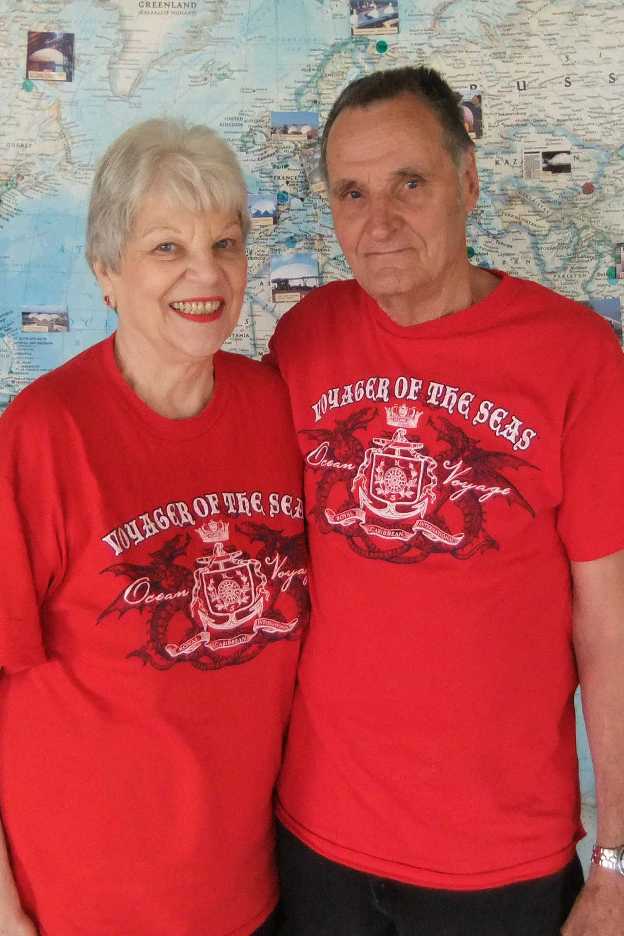 Two happy cruisers — Freda and James Parker enjoyed a Caribbean cruise to celebrate their 10th wedding anniversary and Freda's 75th birthday.