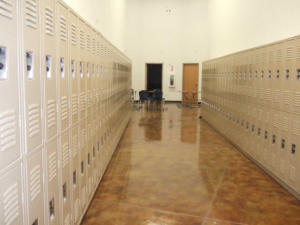 Hallway — It's lined with double rows of lockers.