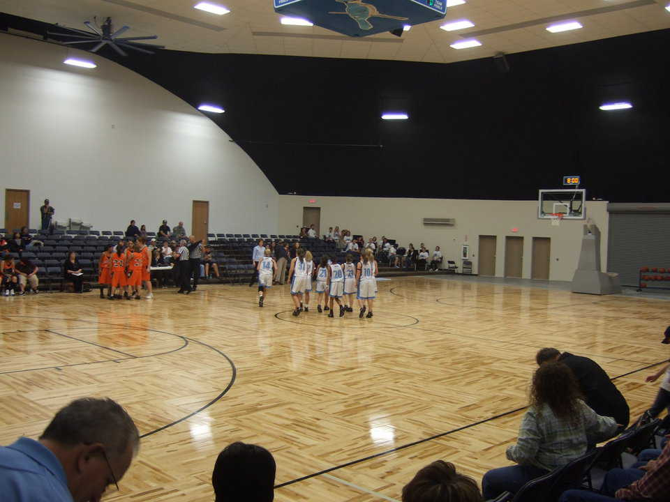 First Basketball Game — Geronimo's Lady Bluejays won the first basketball game played in the new gym by defeating the Lady Coyotes, 36-31.