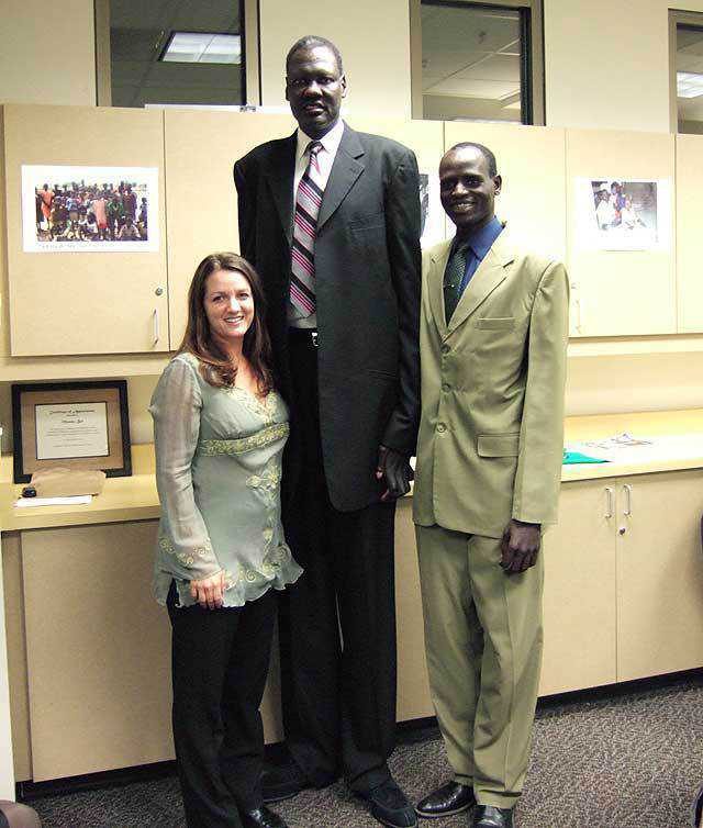Swapp, Bol and Gai — Kristy Swapp, Manute Bol and Abraham Gai. Bol came to Salt Lake City despite short notice and a painful recovery from a terrible car accident to speak at a fundraiser for the SSEP.